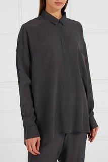 Серая блузка из шелка в горох Alexander Terekhov