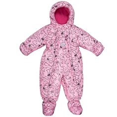 Комбинезон с башмачками для девочки Barkito, розовый с рисунком «лисички»