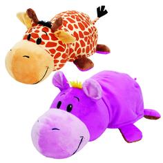 Мягкая игрушка 1Toy «Вывернушка. Жираф-Бегемот» 40 см