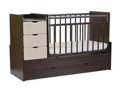 Кроватка-трансформер СКВ-Компани «СКВ-9 Бабочки» венге/текстиль