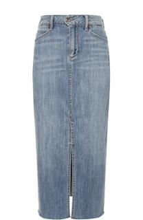 Джинсовая юбка-миди с разрезом и необработанным краем Paige