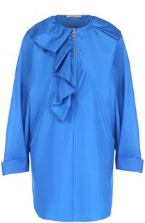 Шелковая блуза прямого кроя с круглым вырезом и оборкой Nina Ricci