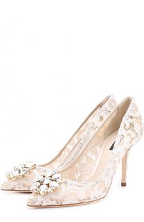 Кружевные туфли Rainbow Lace с брошью Dolce & Gabbana