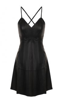 Кожаное мини-платье с открытой спиной Alice + Olivia