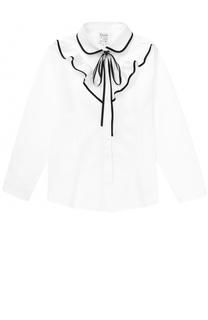 Хлопковая блуза с оборками и контрастной отделкой Aletta
