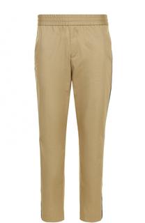 Хлопковые брюки прямого кроя с поясом на резинке Palm Angels