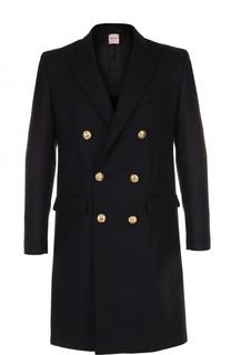 Двубортное пальто из смеси шерсти и кашемира с вышивкой Palm Angels