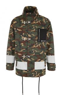 Хлопковая куртка свободного кроя на молнии с камуфляжным принтом Palm Angels
