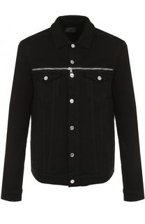 Джинсовая куртка на пуговицах с декоративными молниями RTA