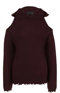Кашемировый пуловер с капюшоном и открытыми плечами RTA