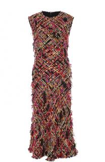Приталенное буклированное платье-миди Alexander McQueen