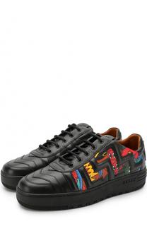 Кожаные кеды на шнуровке с принтом Bally