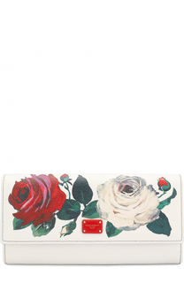 Кожаный кошелек с цветочным принтом и клапаном Dolce & Gabbana
