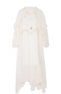 Кружевное платье-миди с завышенной талией Zimmermann