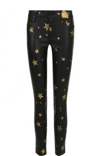 Кожаные брюки-скинни с принтом в виде звезд RTA
