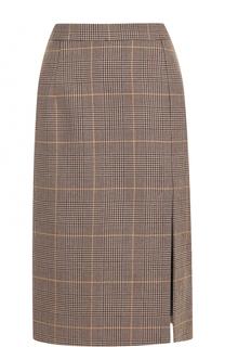 Шерстяная юбка-миди с высоким разрезом Markus Lupfer