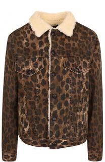 Утепленная джинсовая куртка с леопардовым принтом R13