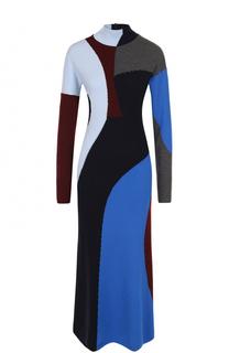 Шерстяное платье-миди с высоким воротником Victoria Beckham