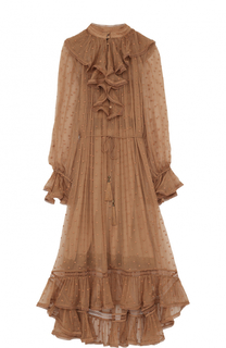Шелковое платье-миди с оборками Zimmermann