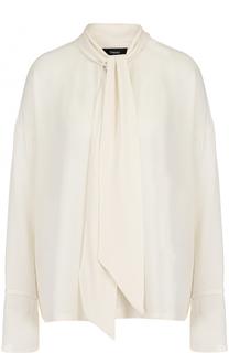 Шелковая блуза с воротником аскот Theory
