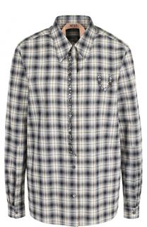 Хлопковая блуза прямого кроя в клетку No. 21