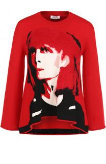 Шерстяной пуловер с круглым вырезом и принтом Sonia Rykiel