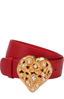 Кожаный ремень с фигурной пряжкой и декором Dolce & Gabbana