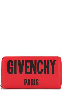 Кожаное портмоне на молнии с логотипом бренда Givenchy