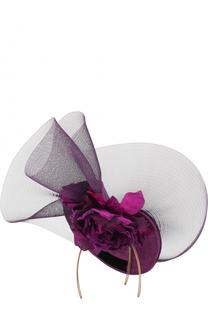 Соломенная шляпа с декором в виде цветка и сеточкой Philip Treacy