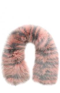 Кашемировый вязаный шарф с отделкой из меха песца Inverni