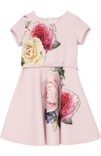 Приталенное платье с принтом и бархатным поясом Monnalisa