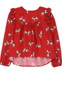 Блуза свободного кроя с принтом и оборками Monnalisa