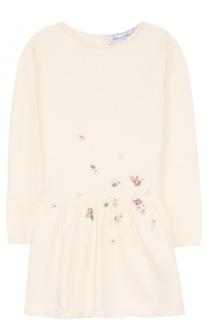 Платье из смеси хлопка и кашемира с вышивкой бисером Tartine Et Chocolat