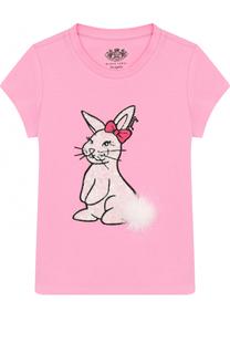 Хлопковая футболка с пайетками и помпоном Juicy Couture