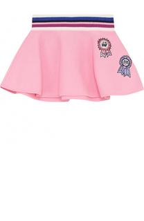 Хлопковая мини-юбка с аппликациями и широким эластичным поясом Juicy Couture