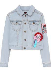 Укороченная куртка из денима с аппликациями Juicy Couture