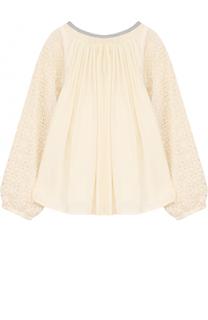 Блуза свободного кроя с кружевной отделкой на рукавах Chloé