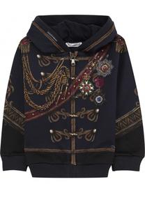 Хлопковый кардиган с капюшоном и принтом Dolce & Gabbana