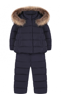 Комплект из пуховой куртки с капюшоном и комбинезона Il Gufo
