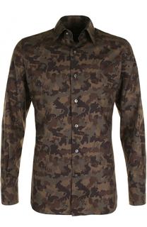 Хлопковая рубашка с камуфляжным принтом Tom Ford