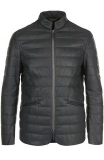 Кожаная куртка на молнии с воротником-стойкой Armani Collezioni