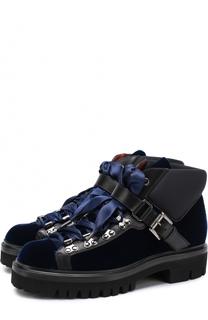 Бархатные ботинки на шнуровке Santoni