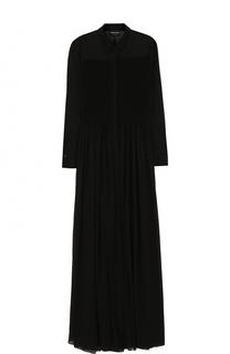 Приталенное шелковое платье-макси Giorgio Armani