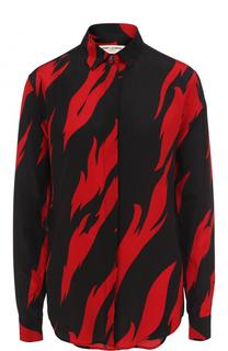 Шелковая блуза с принтом Saint Laurent