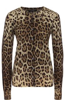 Шерстяной кардиган на пуговицах с леопардовым принтом Dolce & Gabbana
