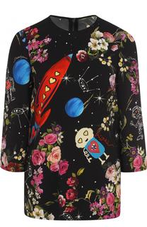 Топ с укороченным рукавом и ярким принтом Dolce & Gabbana