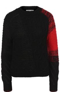 Шерстяной свитер фактурной вязки с круглым вырезом Helmut Lang