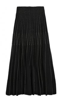 Шелковая плиссированная юбка-миди Alexander McQueen