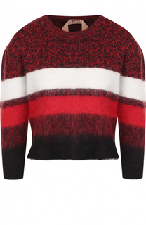 Шерстяной пуловер с круглым вырезом и укороченным рукавом No. 21