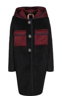 Пальто с накладными карманами и капюшоном No. 21